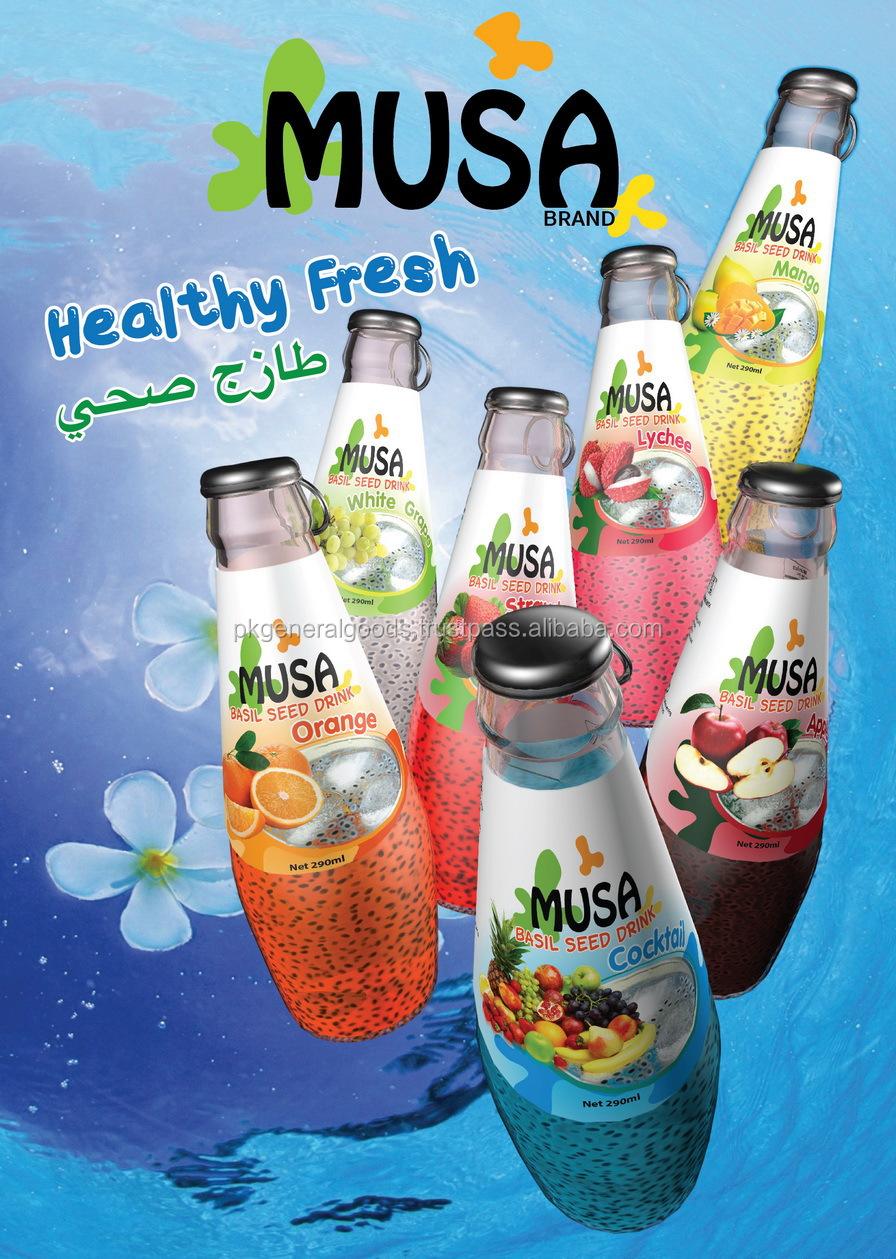 Basil Seed Drink Glass Bottle 290ml Musa Brand