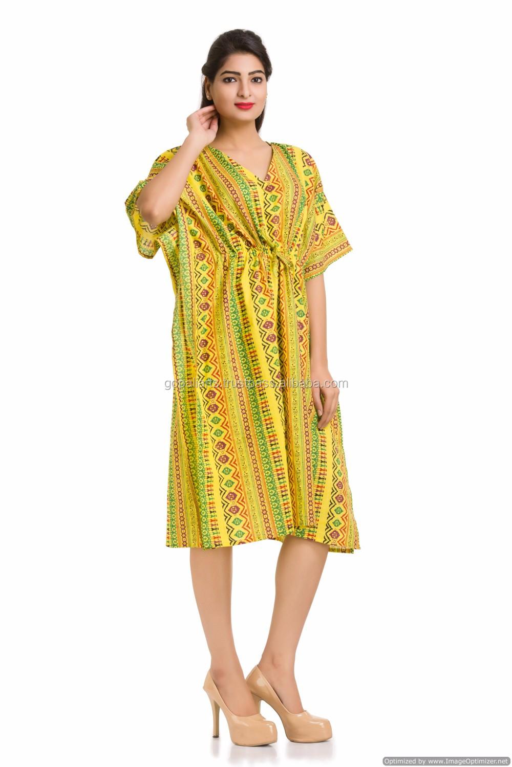 ba982463dea Indian Kaftan Bikini Cover Casual Ladies Wear Knee Length Tunic Short Plus  Size Maxi Gown Dress