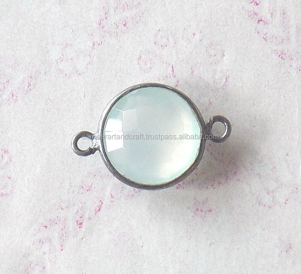 Aqua Chalcedony 925 Sterling Silver Black Rhodium Bezel Connector