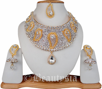 79276e3cc496ea Indian Jewelry Beautiful Kundan Peacock Inspired White Necklace Set With  Earrings