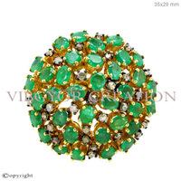 Women new design emerald gemstone ring 925 sterling silver pave diamond 14k gold wedding ring