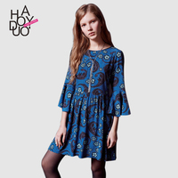 HAODUOYI Women Bohemia Floral Print Dress Flare Sleeves Mini Casual Dresses for Wholesale
