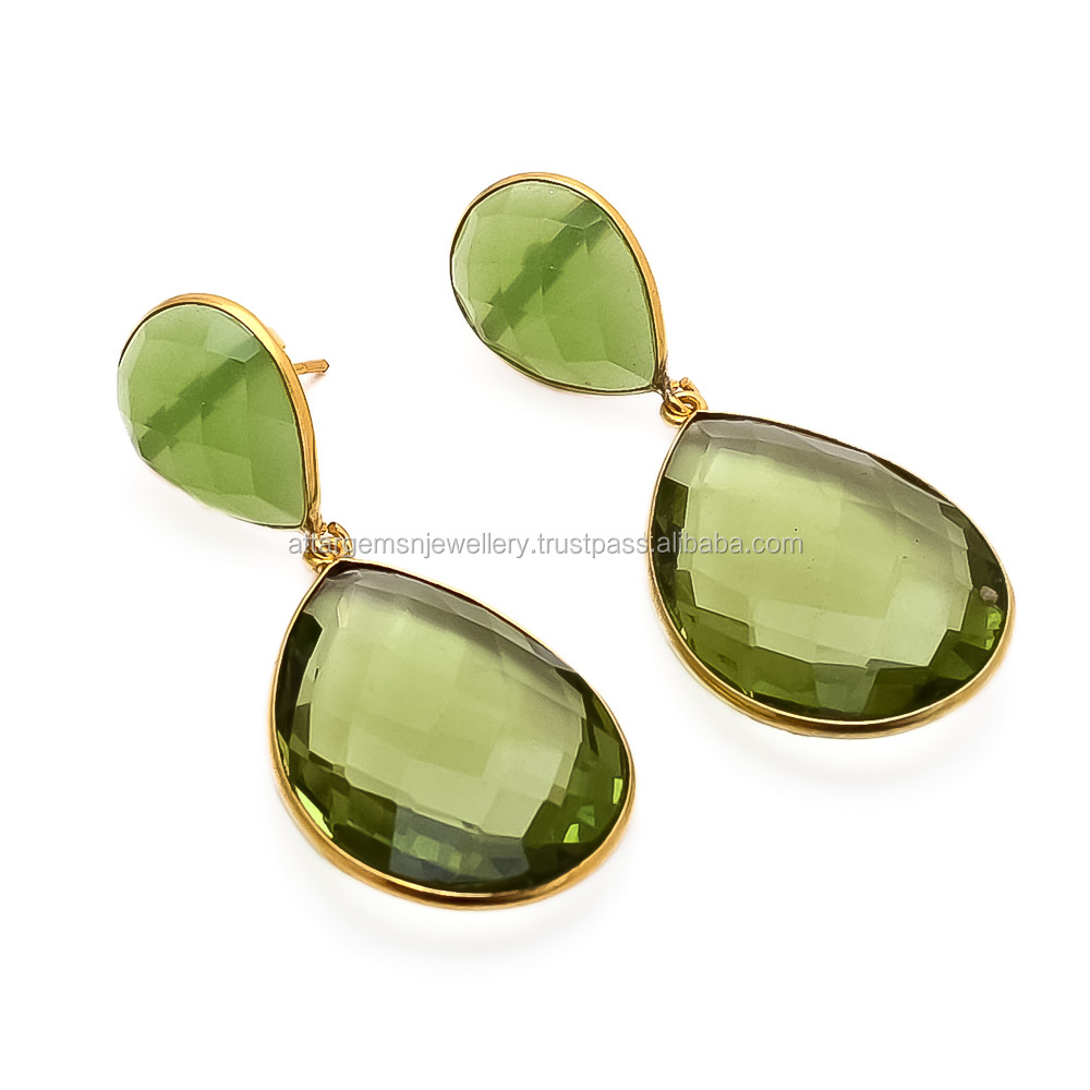 925 Sterling Silver Green Chalcedony Earrings