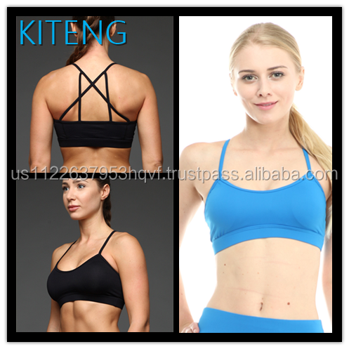 Kiteng high quality crisscross back yoga sports bra with wicking fabric and padding Office In United States (USA)