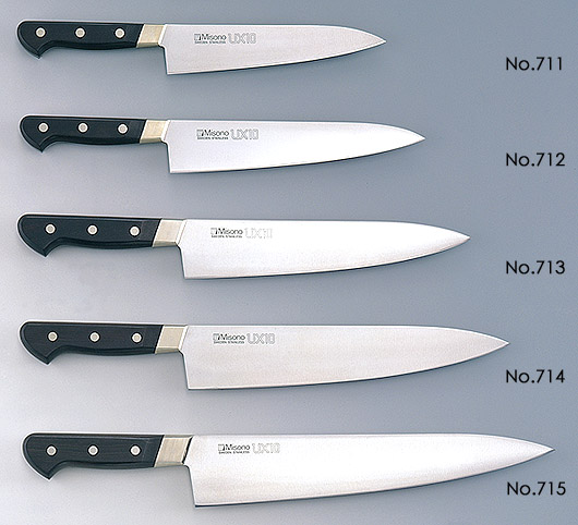 misono damascus kitchen knife ux 10 series made in view