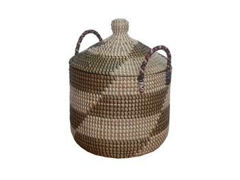 Round Seagrass Basket With Handles And Lid / Storage Basket