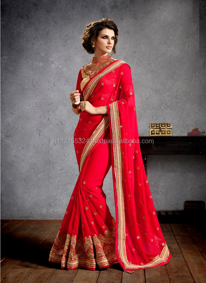 7871d2ebe9 Online shopping for wholesale clothing with special red party wear indian  sarees