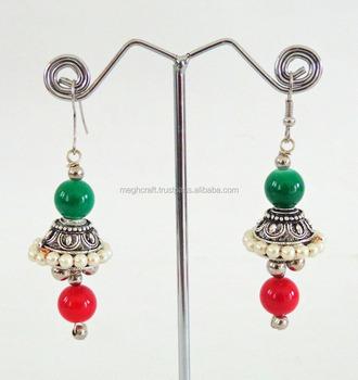 954424609 Indian Navratri Wear Dangle Earrings-Wholesale Oxidized Silver plated Pearl  Jhumka earrings-Indian ethnic