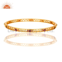 Nice Filigree Designer Pink Zircon Gold Plated Bangle, High Fashion Handmade Bangle Jewelry