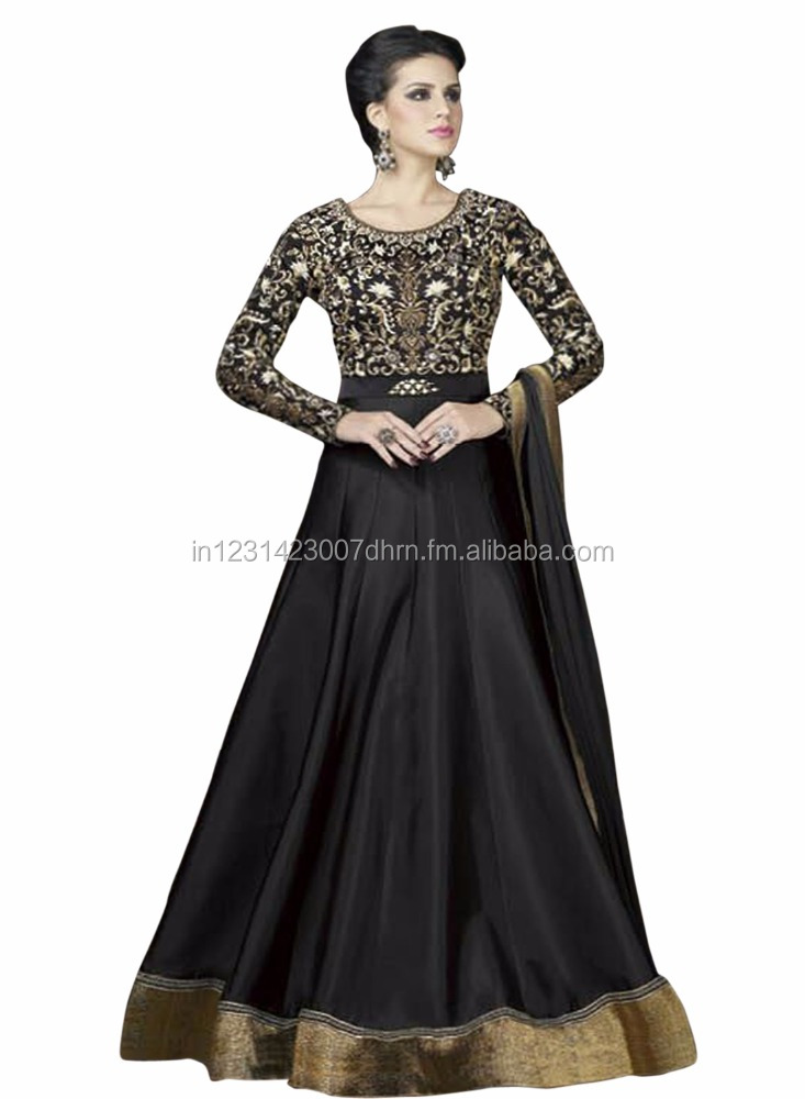 New Latest Designer Black Color Embroidered Heavy Tapeta Silk ...