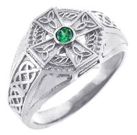 Men's 925 Sterling Silver Celtic Cross Ring with Emerald Center and Trinity Band