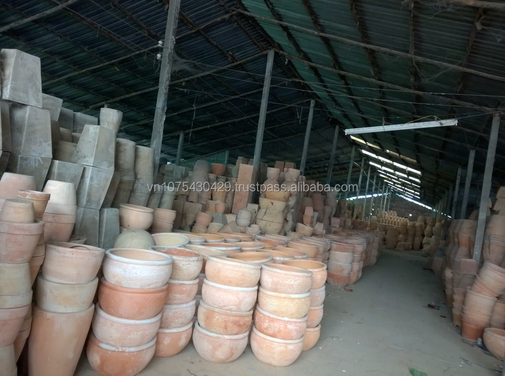 Rectangular Large Black Glazed Flower Pots Vietnam Ceramic
