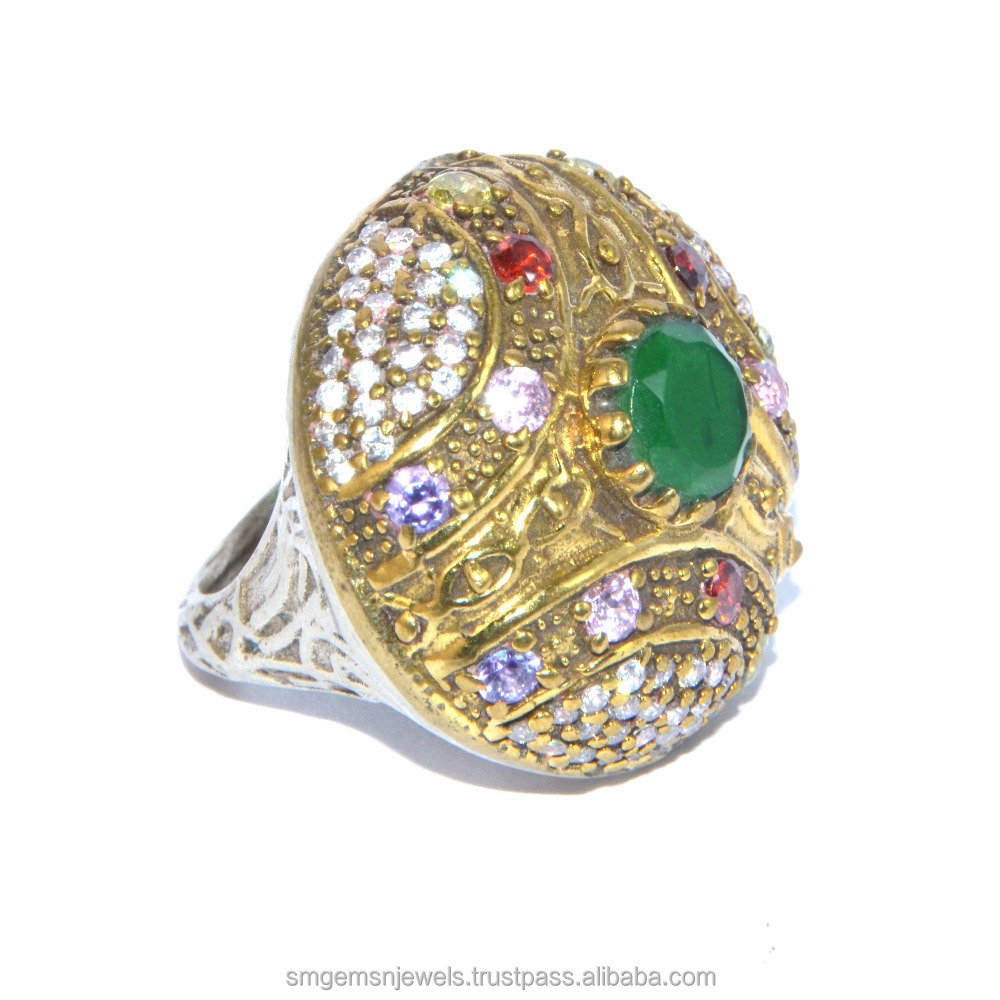 925 Silver Turkish Jewellery With multi stone ring