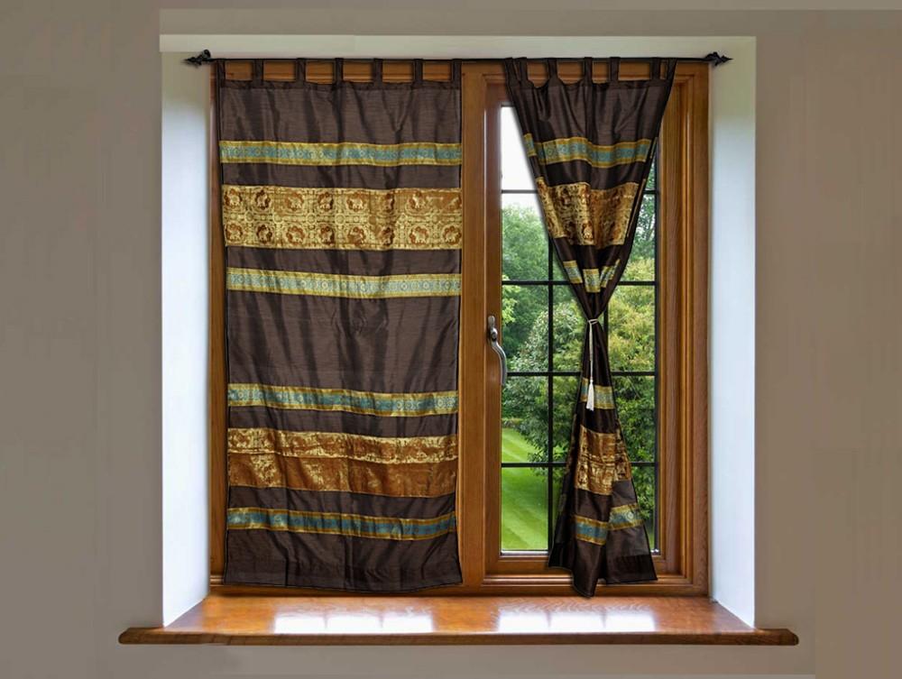 Handmade Silk Jacquard Work Multi Color Door Curtains Indian Window