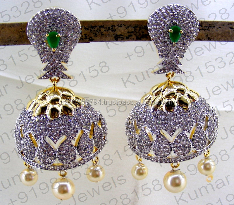 Diamond Look Gold Plated Handmade Fancy CZ Stone Green Color Golden Pearl Drops Hanging Jhumki Earrings