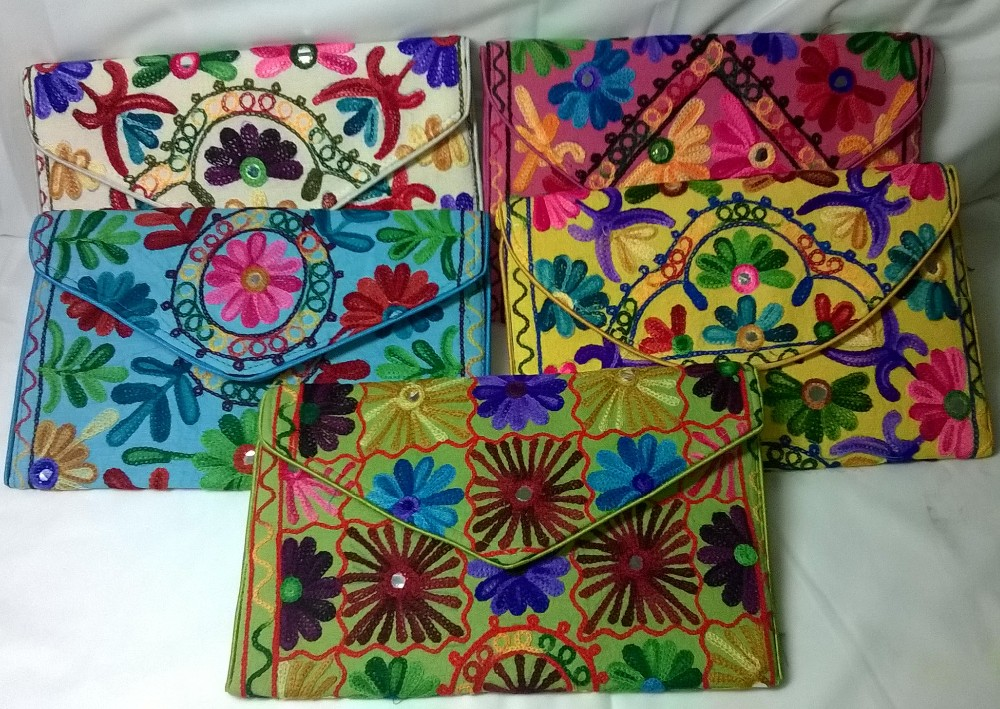 3d8305776d3 Hot Latest Design Handmade Lather With Hand Crafted Suzni Embroidery  Traditional Indian Cotton Clutch Bags Manufacturer