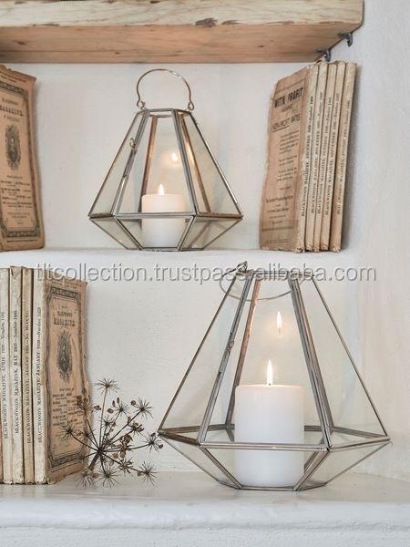 Geometric Brass Lantern,Brass Antique Finish Lantern Glass And ...