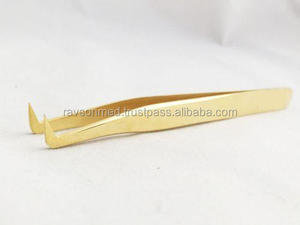 Eyelash Extensions Volume Tweezers 3d GOLD Plated Russian Volume 75Degree L-shape