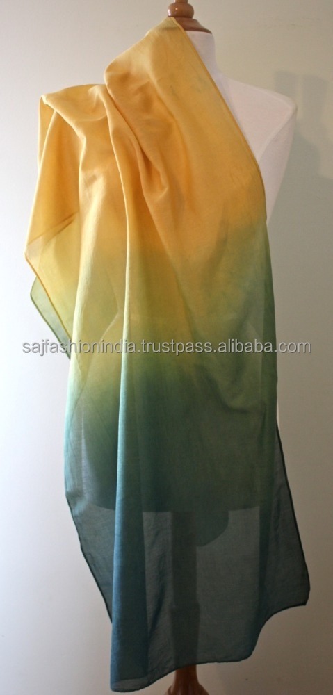 2017 hot selling Ombre scarves 100 % Organic cotton Girl Scarves
