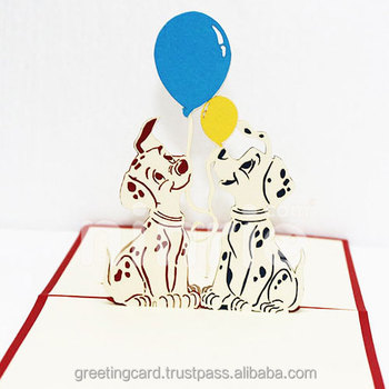 two dogs happy birthday pop up card handmade greeting card - Happy Birthday Pop Up Card