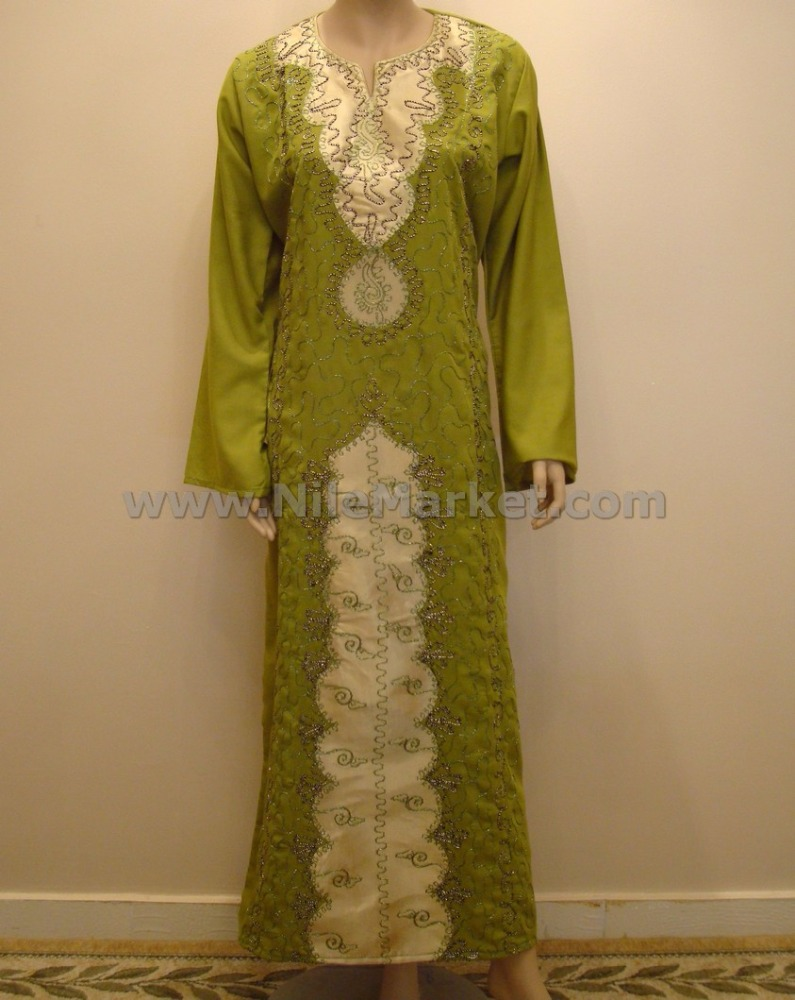 Egyptian Cotton Green And Golden Satin Embroidered Galabeya Abaya Islamic Jilbab Kaftan Jilbab