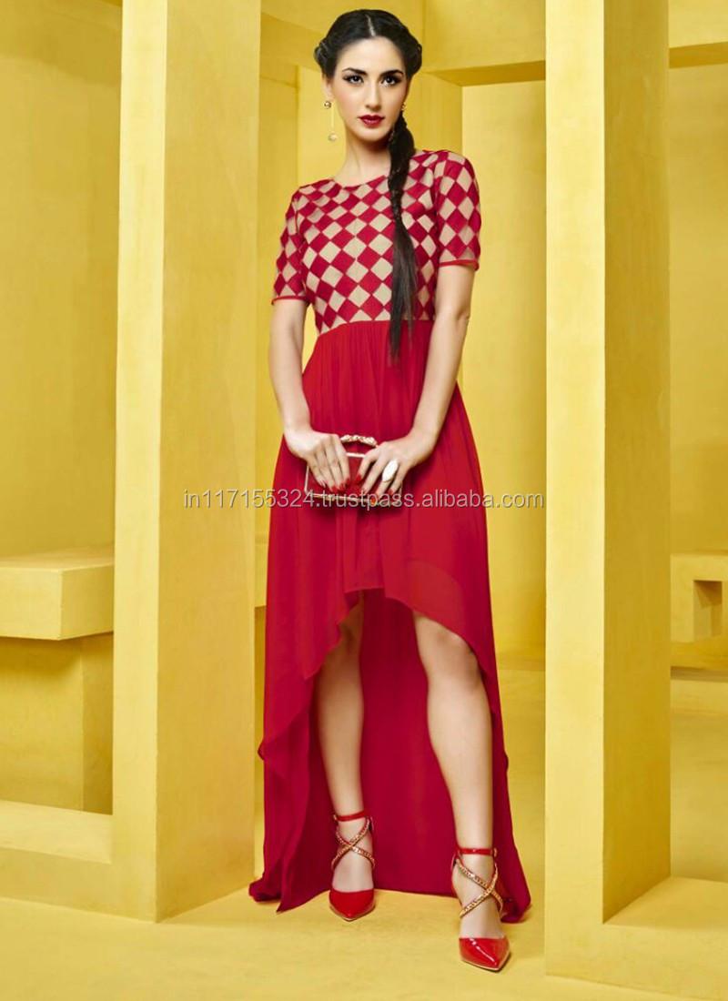 aa5ac39cc5d Kurti designs for stitching - Red round neck wholesale latest kurti top -  Women tunic -