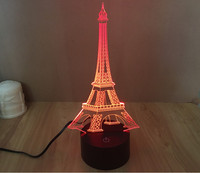 3D Colorful Led Romantic Creative Desk Bedroom Eiffel Tower Shape Night Light Lamp desk decoration birthday gifts