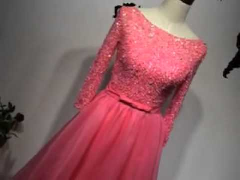 Gorgeous wetermellon red long sleeves  lace prom ball gown
