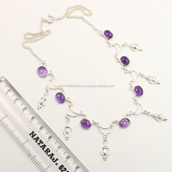 Natural AMETHYST Oval Gemstone Women's Fashion Necklace 925 Sterling Silver ! Manufacturer