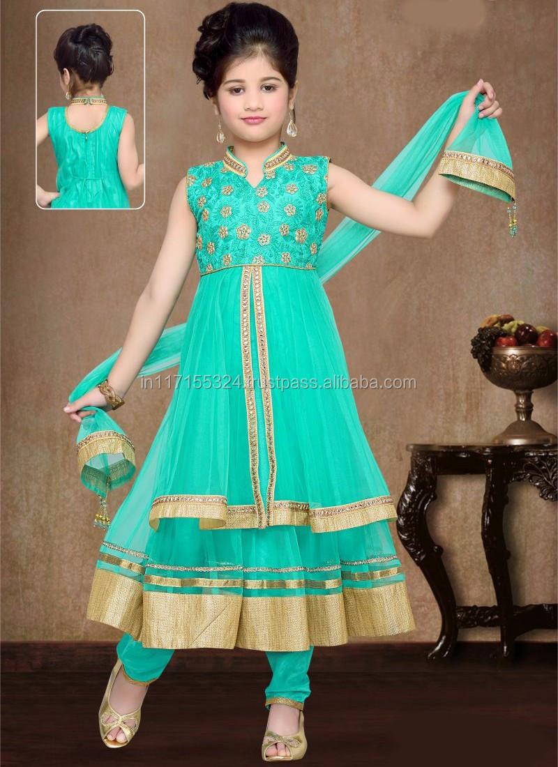 Girl Party Wear Western Dress Children 2016 Kids Anarkali Suits ...