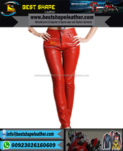 2017 fashionable red leather women's pants