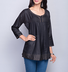 Black Tussar Cotton Embroidered Short Kurta For Girls