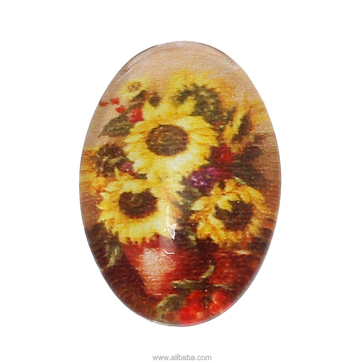 cabochons de cristal cpula seals adornos hallazgos oval flatback amarillo girasol patrn mm