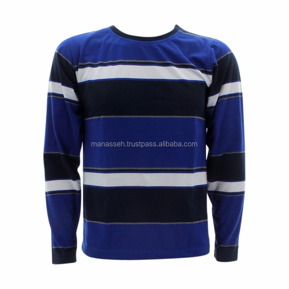 St 0051 Men Color Block Striped T Shirts Tropical Print Pockets T Shirt Buy Factory Wholesale Custom Cheap Stripe O Neck Cotton Long Sleeve Men's T