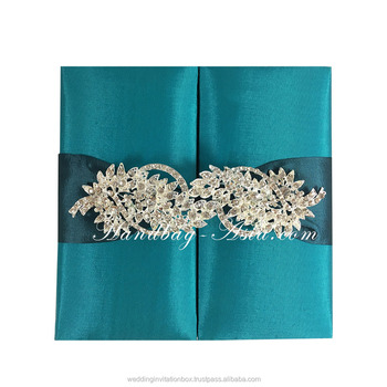 2016 Trendy Teal Wedding Invitation Box Creation Featuring Large ...