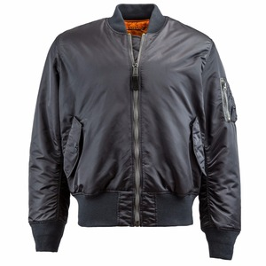 100% Cotton Black Bomber Zipper-up Mans Jacket Without Hood