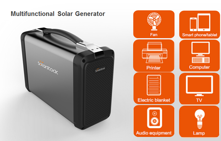 400W Portable Solar Power Generator Rechargeable with Solar or AC/AD Power