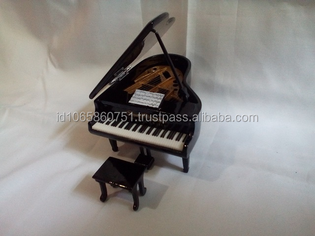 Miniature Piano Dolls House Partiture Chair - Borneo Wood Kalimantan Black Color Handmade