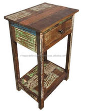 RECLAIMED WOOD BED SIDE , SOLID WOOD BED SIDE TABLE