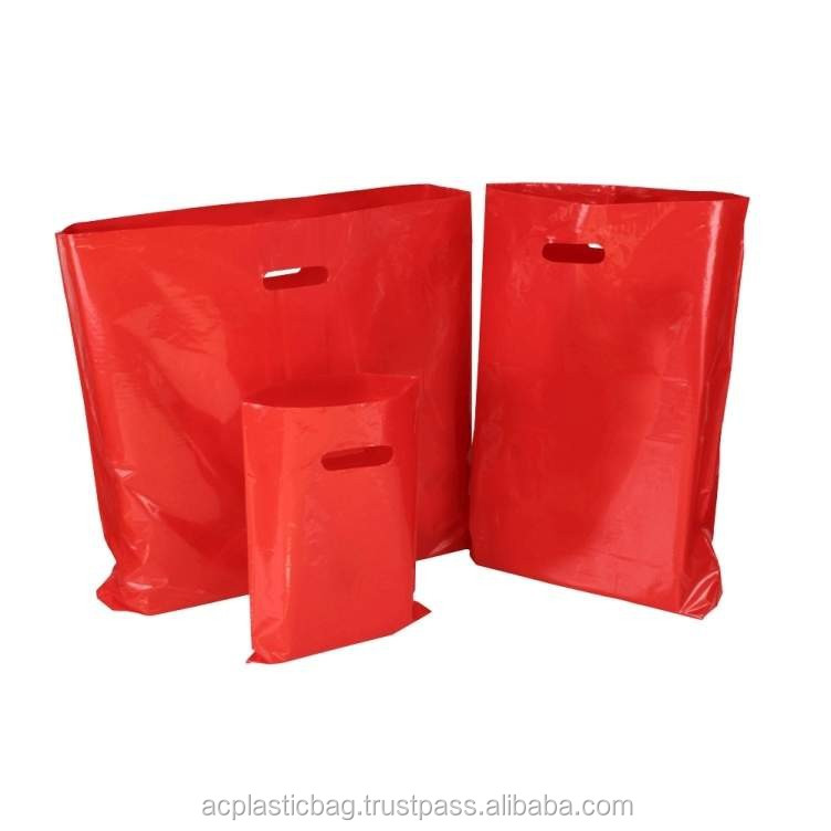 Red Die Cut Plastic Bags With Punched Out Handles Wholesale