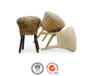 Indoor rattan stool ideal for small spaces