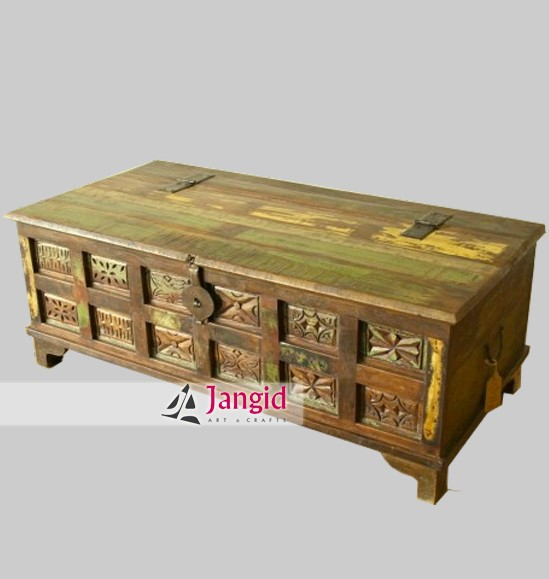 Vintage Reclaimed Wood Storage Trunk Box India   Buy Solid Hand Carved  Wooden Box,Indian Trunk Box Manufacturer,Handmade Indian Furniture Supplier  Product ...