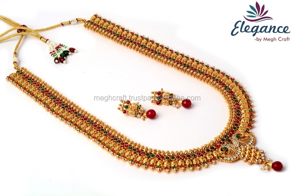 Long Southindian Sets Wholesale Imitation Jewellery Temple