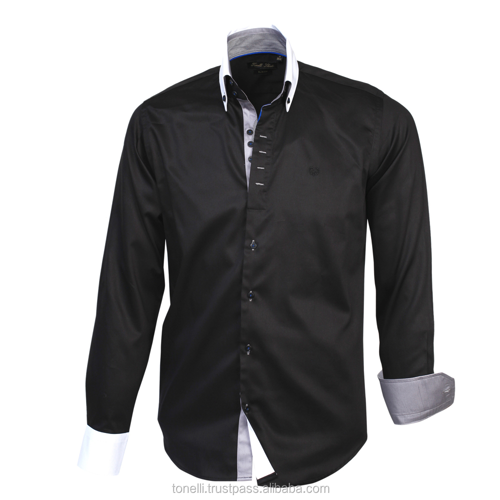 Stylish Button Down Slim Fit Gray Cuff And White Collar Black ...