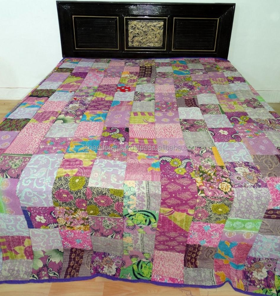 vintage patchwork kantha manta mantas reina ropa de cama hecha con vintage sari