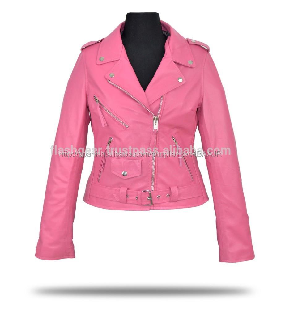 Cuero Para Mujer De Cera Púrpura Chaqueta Amarilla Rosa Moda 4gxPgqz