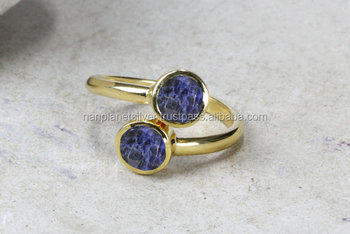 Adjustable Sodalite Round Bezel Set Charm RINGS For Women