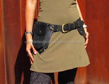 Leather Utility Belt Hip Bag Festival Burning Man With Five Pockets In