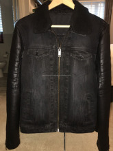 Mens Denim Jacket Leather Sleeves - Very Rare & Soft FC-1551
