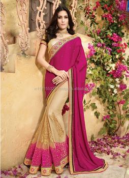 4e304a465a Saree indian - Designer chiffon saree with border - Saree design patterns -  Indian saree online